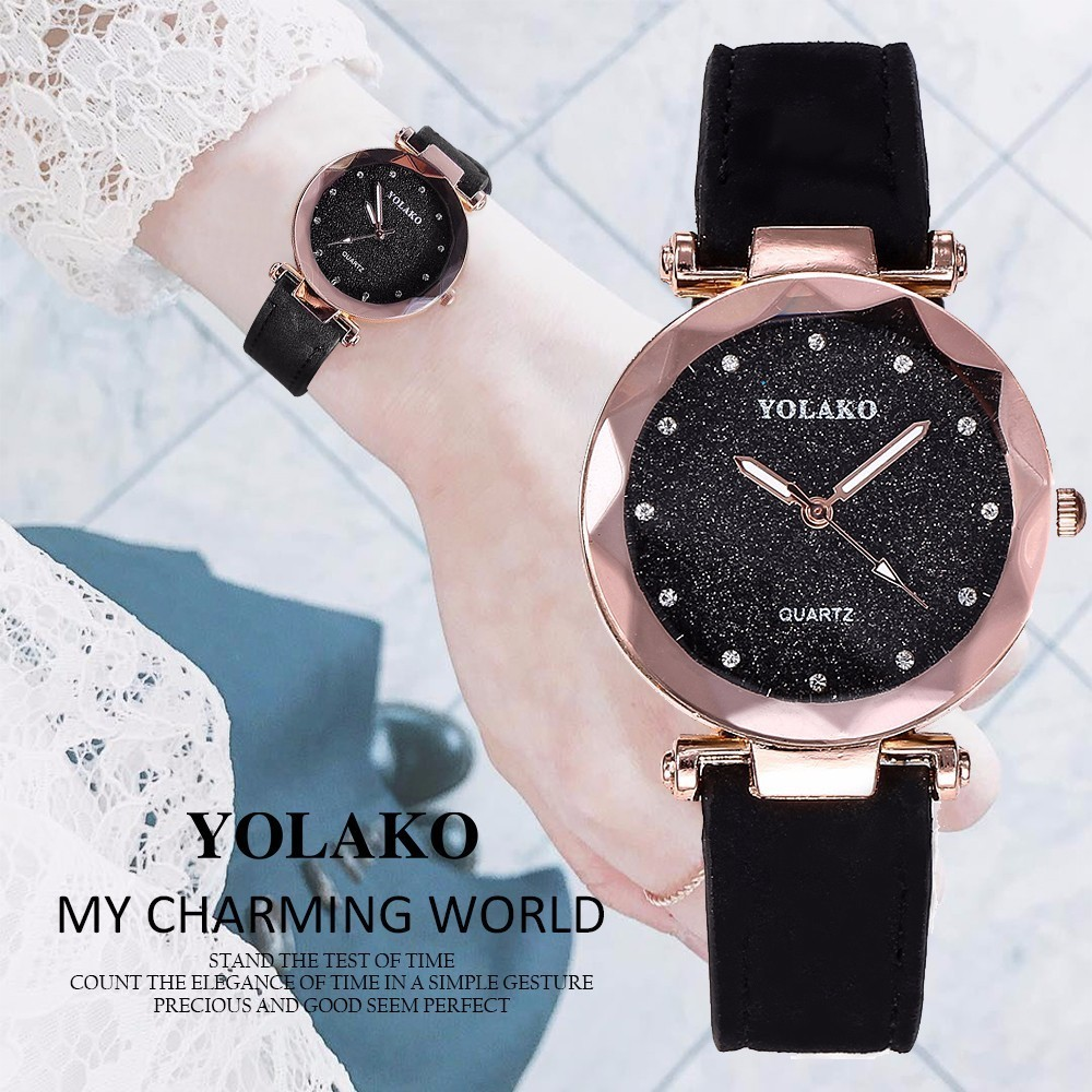 Fashion Women Romantic Starry Sky Wrist Watches YOLAKO Brand Leather Rhinestone Watches Clock Relogio Feminino Dropshipping