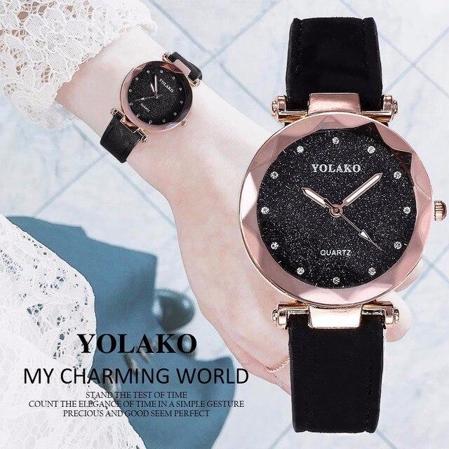 Fashion Women Romantic Starry Sky Wrist Watches YOLAKO Brand Leather Rhinestone