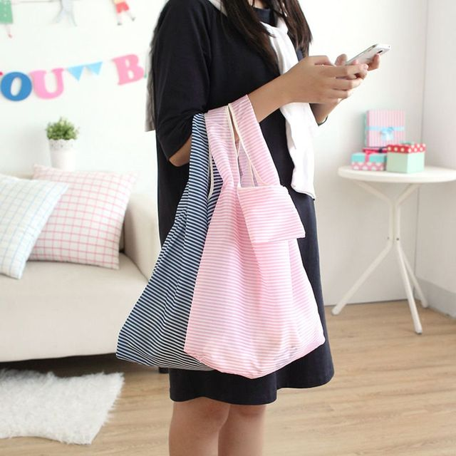 Foldable Striped Tote Shopping Girls Bags