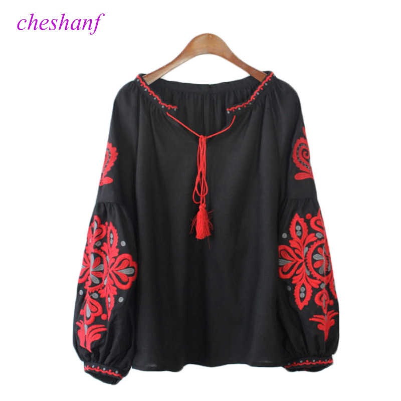 Cheshanf Ethnic Embroidery Floral Blouse Ladies Long Sleeve Women Shirts Female 2020 Vintage Tassel Lace Up Collar Blusa Mujer
