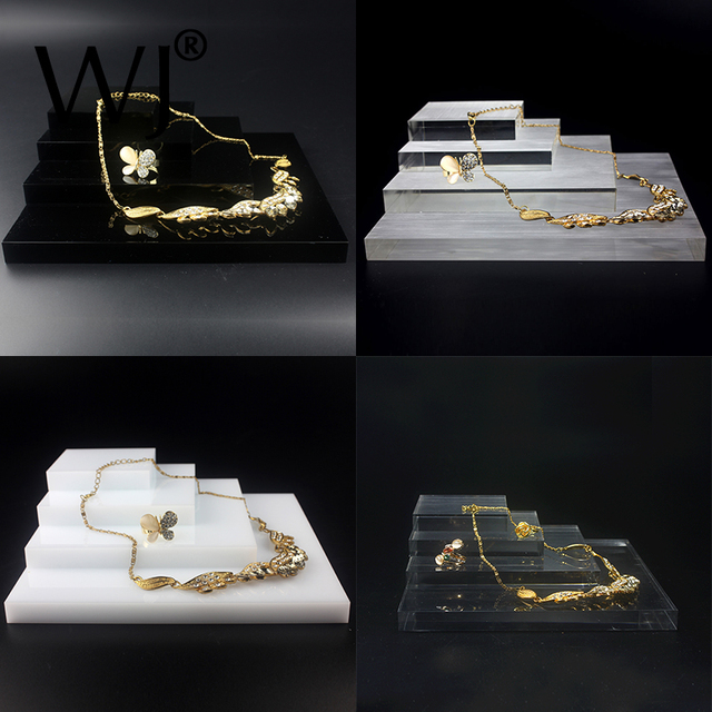 Acrylic Perspex Blocks Retail Jewellery Display Stand Various Risers For Ring Bracelet Necklace Earring Jewelry Multilist