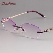 Chashma Brand Colored Lenses Fashion Glasses Frame Women Optical Rimless Alloy Spectacles Female Stones Eyeglasses