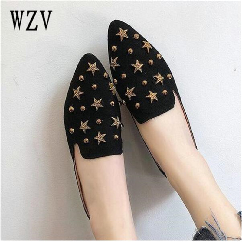 2018 Fashion Women Shoes Woman Flats stars suede Casual Comfortable pointed toe Rubber Women Flat Shoe Hot Sale New Flats B188 hot sale 2018 new fashion lightweight breathable shoes leather flat women shoes comfortable classic style casual sneakers