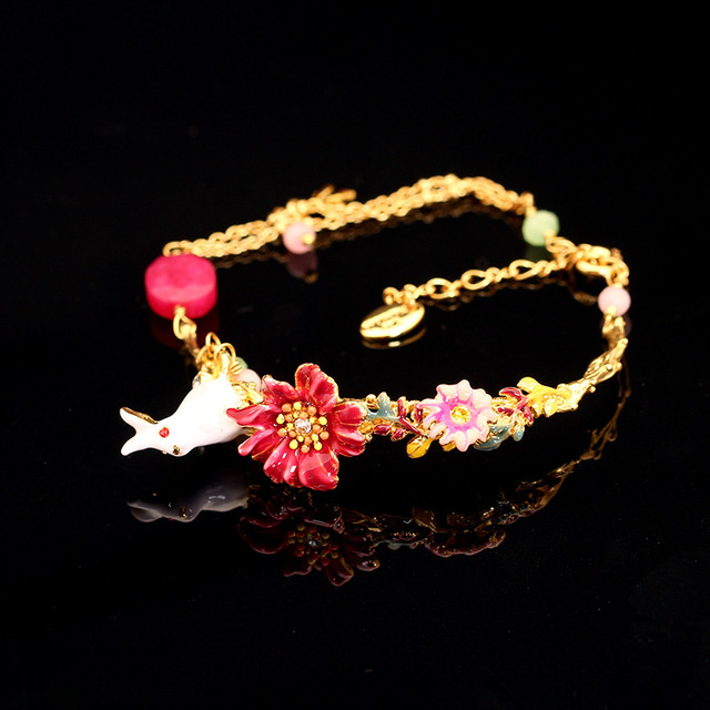 Les Nereides Enamel Rabbit Red Flowers Open Bracelet Fashion Beautiful For Women 2017 New Gift Jewelry