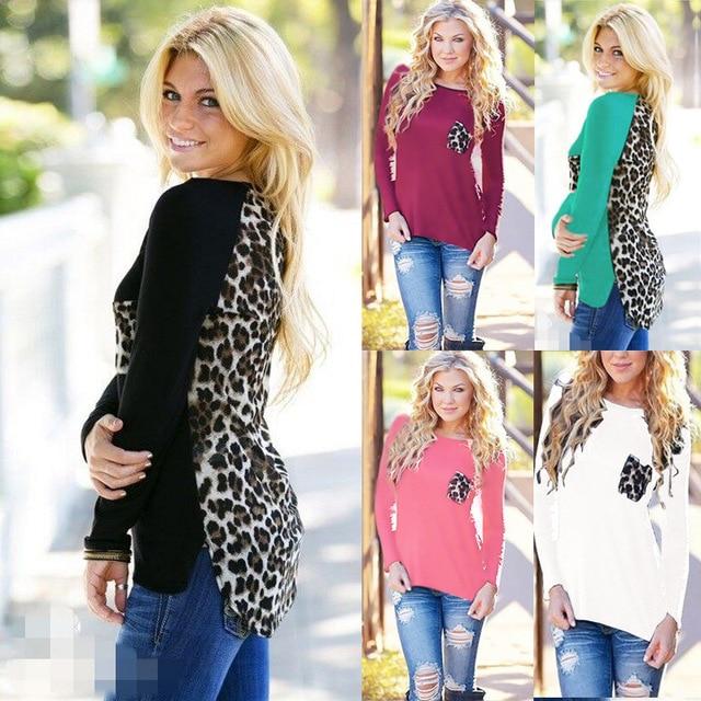Мода Новая Осень Леопарда Женщин Рубашки Лоскутные Материнство Блузка Плюс Размер О-Образным Вырезом Свободные Женской Одежды Повседневная Sexy Lady Футболка