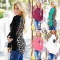 Moda de Nova Outono Mulheres Leopardo Camisa de Maternidade Patchwork Blusa Plus Size O-pescoço Solto Mulher Roupa Casual Sexy Lady Camiseta