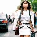 2017 diseñador de la marca de lujo cc chaqueta de tweed de lana delgada runway mujeres en relieve hebilla ahueca hacia fuera la chaqueta + Una falda de línea 2 unidades conjunto