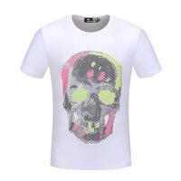 PPFRIEND brand short summer men tshirt comfortable breathable black white t shirt male fashion cotton t shirt skull pattern 6770