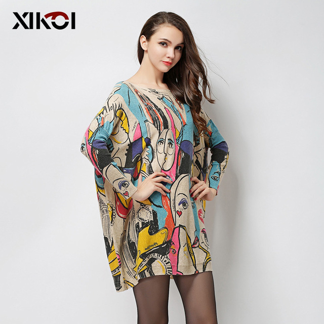XIKOI 2017 New Autumn Fashion Women Sweaters Print Slash Neck Pullovers Computer Knitted Casual Long Loose Women Sweater