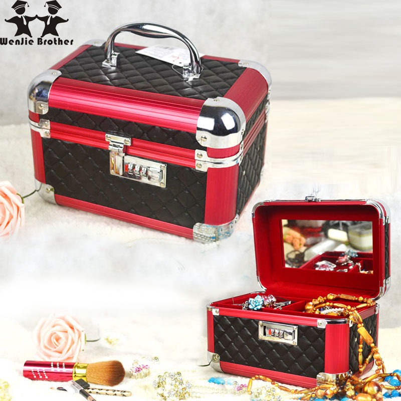 wenjie brother password lock Professional Aluminium alloy Make up Box PU Makeup Beauty Case Cosmetic Bag Multi TiersJewelry Box