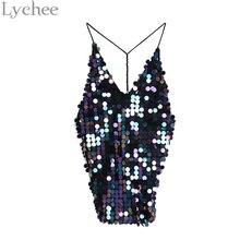Lychee Sexy Summer Women Dress V Neck Backless Sequin Mini Cami Sleeveless Dress Party Dress