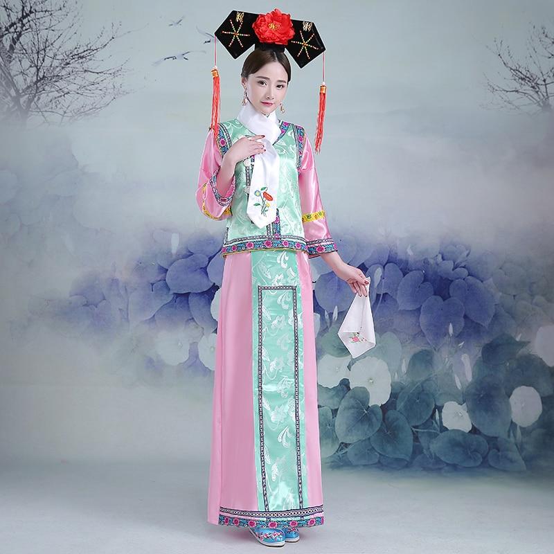 6 slags stilarter bustestørrelse 100 cm Kina Qing Dynasty prinsesse Manchu Court kostume flag hoved kvinders kongelige tøj Manchu ...