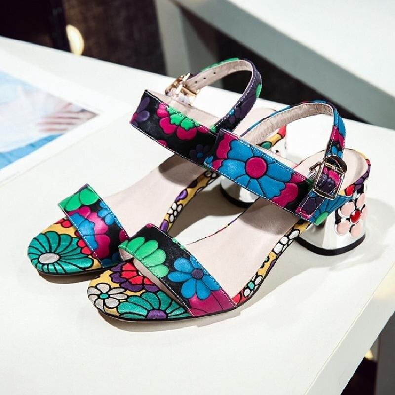Carrés D'été Vert Sangle Imprimer Mode Cheville Véritable Cuir Sandales Talons Nouvelles Fleur blanc De Noce Femmes Mujer En xnwXa