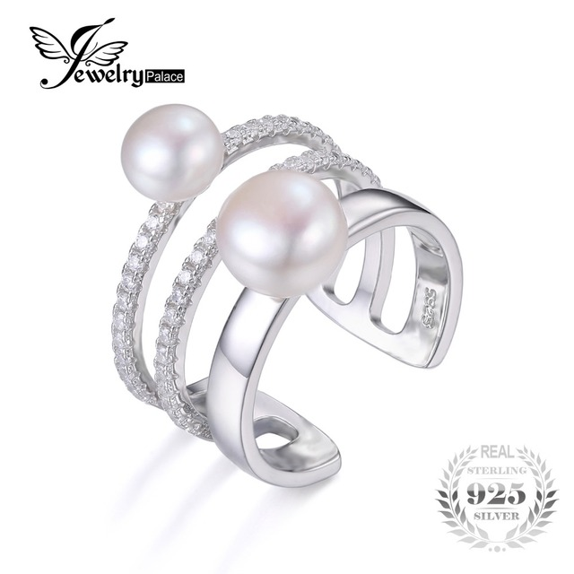 JewelryPalace Freshwater Cultured 7-8mm White Pearl Band Wrap Stackable Ring 925 Sterling Silver Adjustable Ring for Women