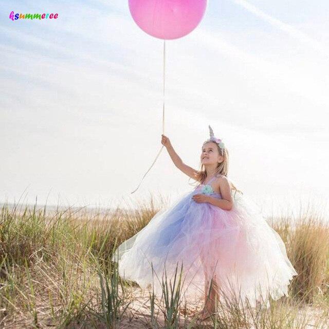 女の子花ユニコーンチュチュとヘッドバンドパステル虹子供ページェント誕生日パーティー服妖精衣装