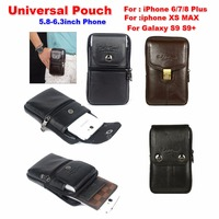 Universal Smartphone Carrying Leather Case Pouch Crossbody Shoulder Waist Belt Wallet Bag for Xiaomi 8/iPhone Xs Max/XR/Nubia X