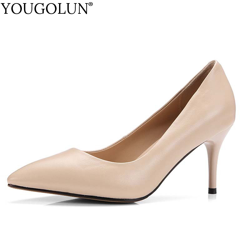 YOUGOLUN Women Pumps Genuine Cow Leather New Office Lady High Thin Heels Elegant Woman Pointed toe Party Shoes 6 Colors #A-067 asumer 2017 new high quality flock women pumps pointed toe high heels 8cm office lady dress shoes woman black wine red