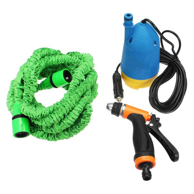 12V Portable High Pressure Car Electric Washer Auto Wash Pump Set with Hose and Water Gun-in Water Gun & Snow Foam Lance from Automobiles & ...