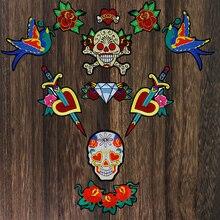 1set Large Bird Flower Patches Sword Love Heart Skull Appliq