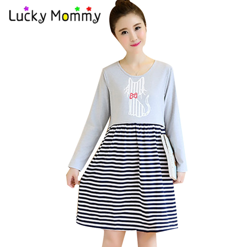 Winter Autumn Cotton Stripes Nursing Clothes Cat Print Maternity Dress for Breastfeeding 2017 Casual Pregnancy Clothing