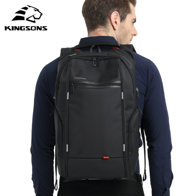 "Kingsons Men Backpacks 13"" 15"" 17"" Laptop Backpack USB Charger Bag Anti-theft Backpack for Teenager Fashion Male Travel"