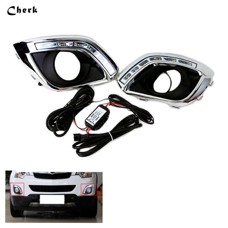 все цены на LED DRL Day Light For Opel Antara 2010 - 2014 Daytime Running Light Waterproof  With Fog Lamp Hole Car-styling Free Shipping