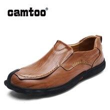 CAMTOO/Мужская обувь; мужская повседневная обувь из натуральной кожи; модная мужская обувь для вождения ручной работы; высококачественные лоферы на плоской подошве; Мягкие Мокасины