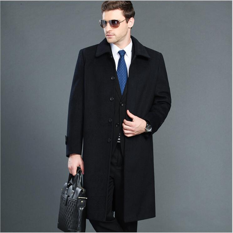 Factory direct sale Fashion Men Over Long Jacket Classic Business Outfit autumn winter Male cashmere Woolen Long   trench   coat
