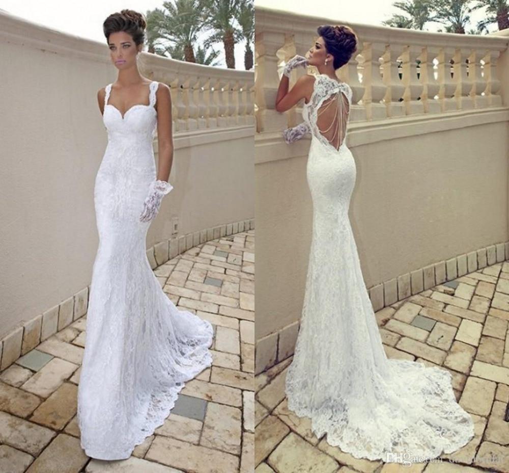Spaghetti Strap Lace Mermaid Wedding Gowns: New Elegant Custom Made Spaghetti Straps Sexy Lace