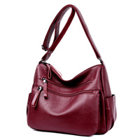 Female Casual Shoulder Bags Women Leather Handbags Ladies Shoulder Bag Design Zipper Hobos Women S Messenger