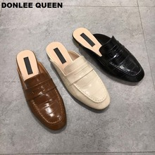 Women Casual Mule Shoes Close Toe Slippers Flat Heel Ladies Shoes Classic British style Loafer Outdoor Slides sandalias mujer 19 все цены