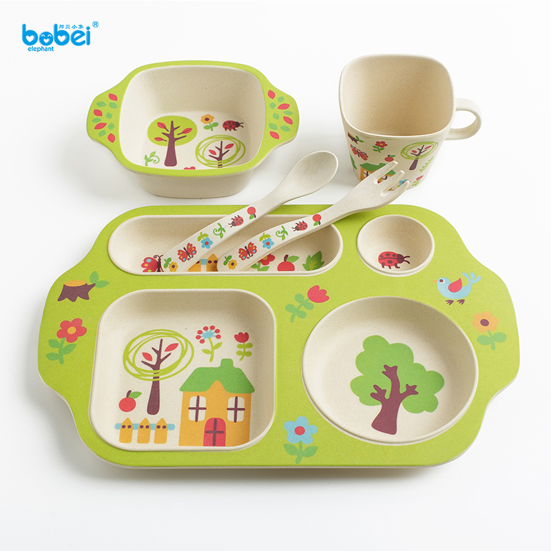 5pcs/set baby tableware natural bamboo fiber dinnerware dish bowl plate cup set for training feeding kids with cartoon painting