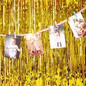 Image 4 - 2M 3M altın gümüş metalik folyo Tinsel Fringe perde doğum günü partisi dekorasyon düğün fotoğraf Backdrop perde fotoğraf sahne