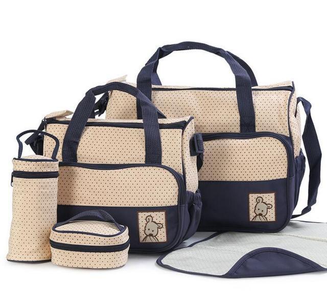 2016 Calidad impermeable 5 Unids/set Nylon bolsos de Múltiples funciones de gran capacidad de La Momia del pañal del bebé bolsa oblicuamente mochila bebé pañal bolsas