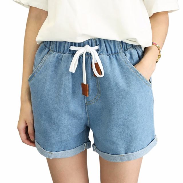 68e299c578ae Elastic Drawstring High Waist Denim Shorts Women Jeans Shorts Brand Female  Short Pants Summer Casual Cotton Shorts for Women