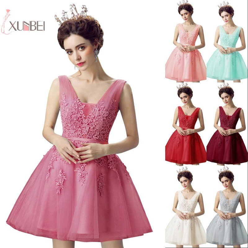 2019 Pink Burgundy Navy Blue Short   Bridesmaid     Dresses   Lace Applique Wedding Party Gown vestido madrinha