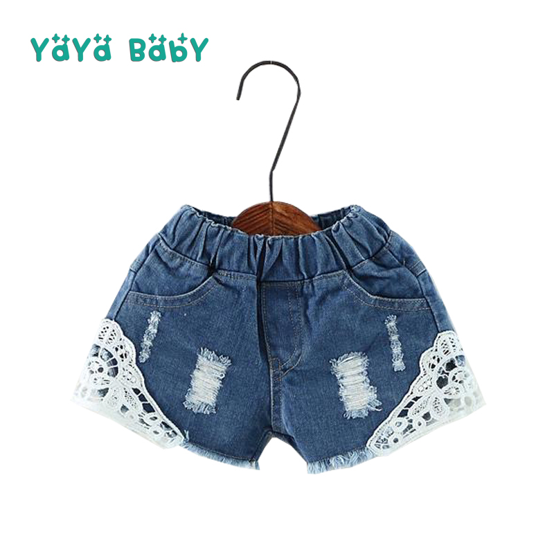 2 3 4 5 6 7 8 9 10 11 12 13 14 Year Baby Teens Girls Shorts Pants 2018 Summr Casual Denim Jeans for Girls Lace Children Trousers girls jeans kids denim pants pencil cotton khaki camouflage mid waist casual children jeans for girls size 9 10 11 12 13 14 year