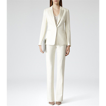 Women's fashion slim solid color suit two-piece suit (jacket + pants) ladies business formal wear support custom