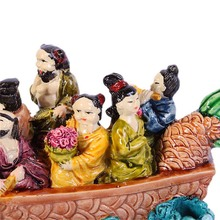 Feng Shui Eight Immortals God On Dragon Boat Wealth Ship