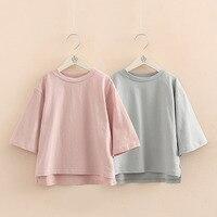 Çocuklar Kollu T gömlek 2018 Ilkbahar Yaz Kore Yeni Bebek Kız Giysileri Çocuk Katı Gevşek Dip Gömlek Kız O-Boyun Üst/tee