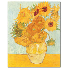 Abstract Vincent Van Gogh Gold Sunflower Oil Painting on Canvas Original Floral Vase Wall Picture Poster for Living Room