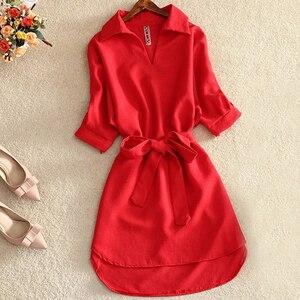 Image 4 - Женское шифоновое платье туника, повседневное офисное однотонное красное платье с поясом, лето 2019