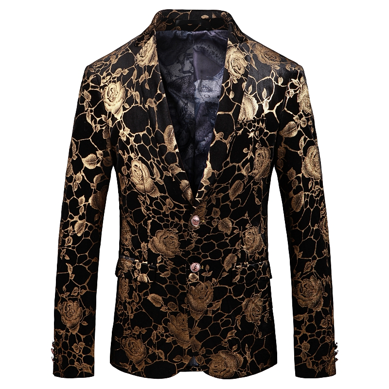 Golden Rose Pattern mens blazer casaco Ásia tamanho S 5XL Primavera e Outono Homens terno jaqueta de Manga Longa - 6