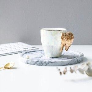 Image 3 - Creativo Bianco Tazza In Ceramica Placcato Oro Maniglia Ali di Angelo Home Office di Caffè Latte Tazze di Porcellana Coppia Regalo Della Decorazione Della Casa