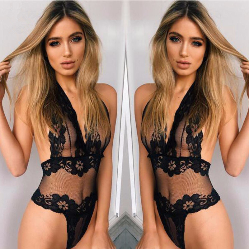 New Erotic Lingerie Sey Women Lace Perspective Babydoll Sexy Teddy Lingerie Open Bra Halter Temptation Lenceria Sexy Underwear(China)