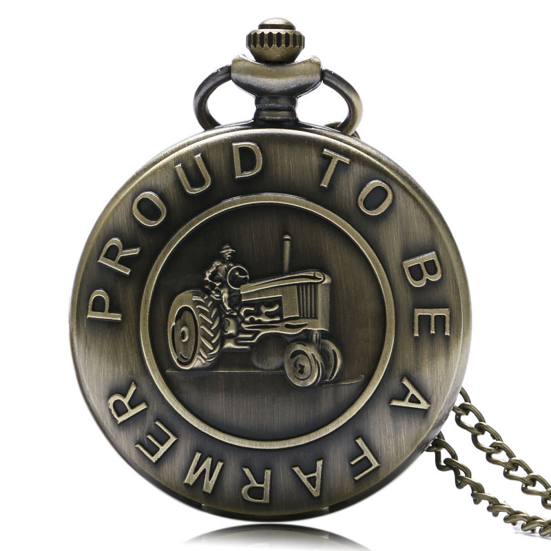 Vintage Carving Proud To Be A Farmer Agricultural Vehicles Pattern Quartz Pocket Watches Unisex Pendant Necklace Chain Cosplay