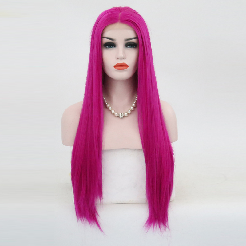 Charisma 180 Density Silky Straight Hair Synthetic Lace Front Wig Middle Part High Temperature Pink Wigs