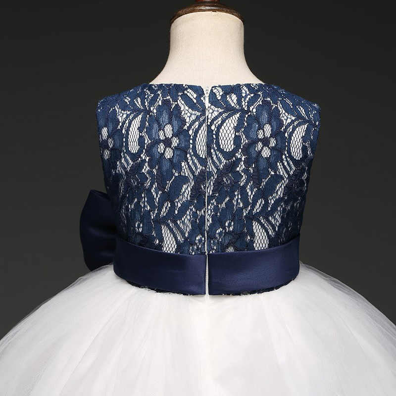 JaneyGao 2019 הגעה חדשה ילדה פרח שמלות עם קשת כחול מסיבת הילדה די אלגנטי פורמליות קיץ שמלה