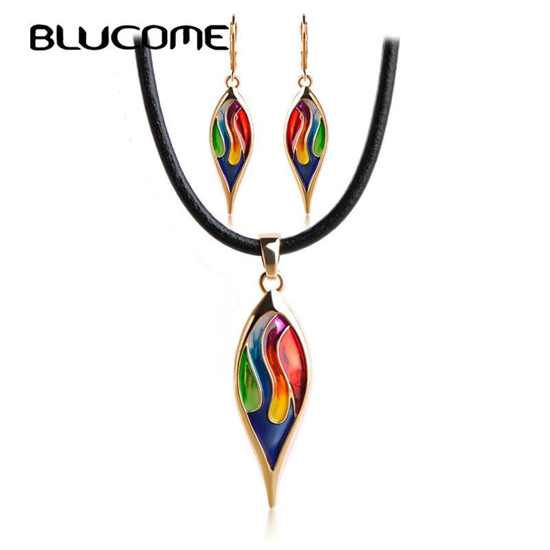 Blucome Latest Enamel Leaves Long Earrings Necklace Set