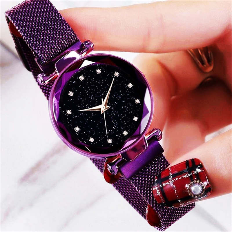 Luxury Rose Gold Women Watches Starry Sky Magnetic Female Wr